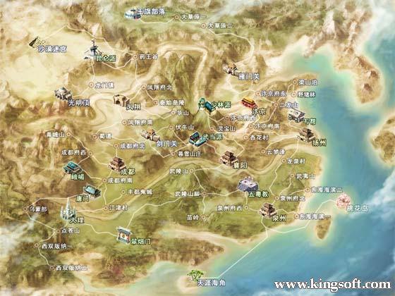 剑网2游戏世界地图全景